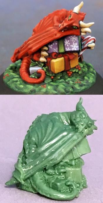 Christmas Dragon.Miniature Giant Special Edition Christmas Dragon Hoard