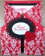 Happy Anniversary, Gate Fold, Red Print Love