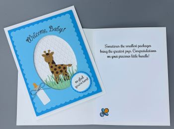 Baby Boy, Welcome Baby w/Giraffe, Laura-Baby-B105 Cards by Laura