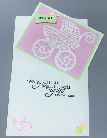 Baby Girl, Carriage, Laura-Baby-G103 Cards by Laura