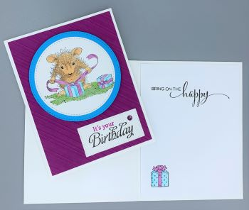 Birthday Female, House Mouse Wrapping, Laura-Birth-F118 Cards by Laura
