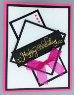 Birthday Female, Embossed Frames, Hot Pink