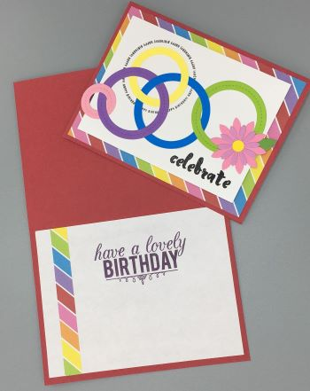 Birthday Female, Rainbow Rings, Laura-Birth-F135 Cards by Laura