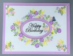 Birthday, Female, Delicate Flower Oval Inset