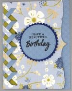 Birthday Female, Denim Blue Flowers w/Braid