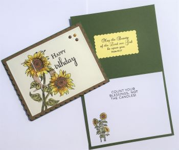 Birthday Female, Subtle Letter Sunflower, Laura-Birth-F158C Cards by Laura