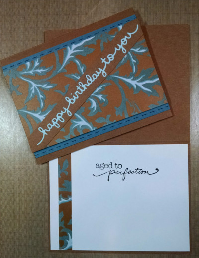 Birthday Male, Blue & Brown Flocked, Perfection, Laura-Birth-M109 Cards by Laura