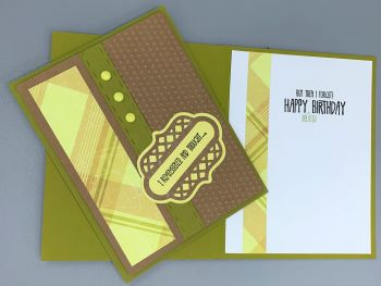Birthday Male, Manly Plaid and Dot,Belated, Laura-Birth-M111B Cards by Laura