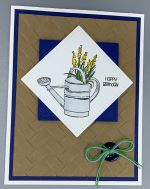 Birthday Male, Watering Can on Woven Mat