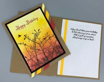 Birthday Male, Sunset Silhouette, Christian, Laura-Birth-M116C Cards by Laura
