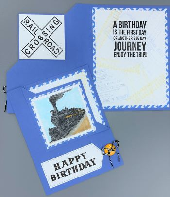 Birthday, Train, Corner-Fold Flip, Laura-Birth-M117-CF Cards by Laura