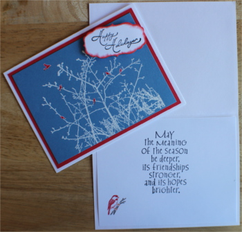 Christmas, Red Birds on White Branches, Laura-Christ-103 Cards by Laura
