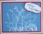 Christmas, Red Birds on White Branches