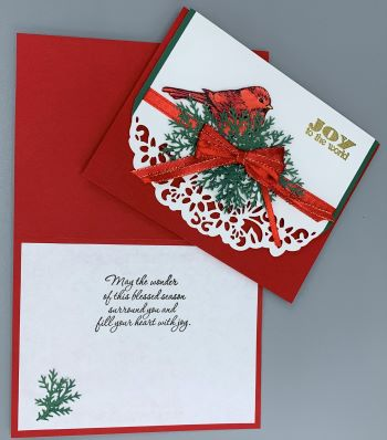Christmas, Red Bird with Lace, Laura-Christ-126 Cards by Laura