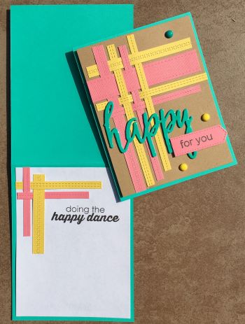 Congratulations, Woven Pierced Strips, Happy, Laura-Cong-103 Cards by Laura