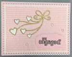 Engagement, Pink Love Talk, Gold Heart Ribbon