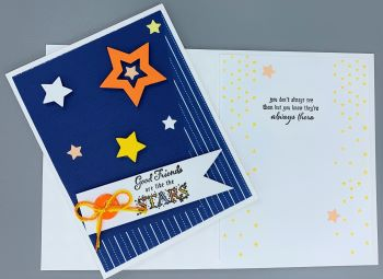 Friendship, Pin Strip and Stars, Laura-Friend-105 Cards by Laura