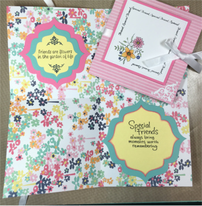 Friendship, Squash Fold, Pink Pin Stripe, Laura-Friend-110-SF Cards by Laura