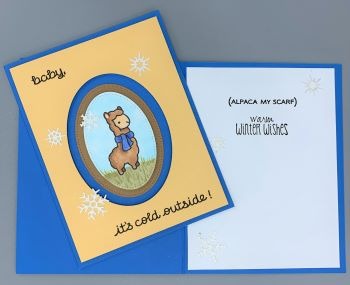 Just a Note, Alpaca Cold, Winter Wishes, Laura-JustA-104 Cards by Laura