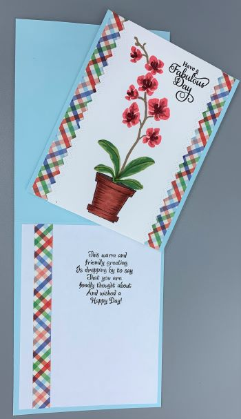 Just A, Orchid in Pot, Laura-JustA-114 Cards by Laura