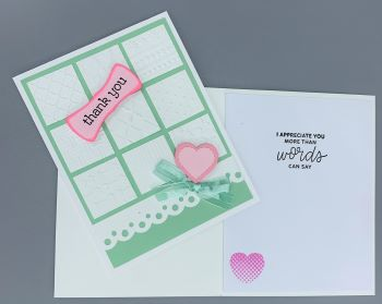 Thank You, Window pane, Mint/Pink, Laura-Thank-100 Cards by Laura