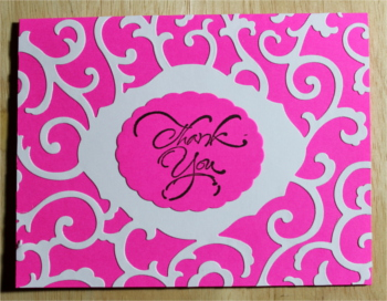 Thank You, Swirls on Hot Pink, Laura-Thank-116 Cards by Laura