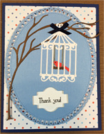 Thank You, Bird Cage on Polka Dot
