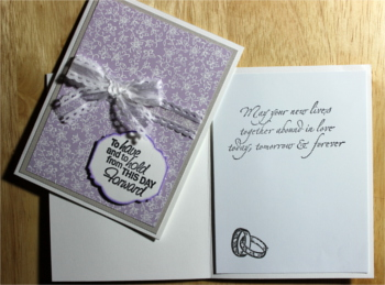 Wedding, White Embossed Flowers on Lavender, Laura-Wed-105 Cards by Laura