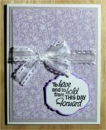 Wedding, White Embossed Flowers on Lavender